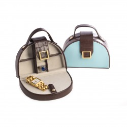 Croc Leather Jewelry Case Blue and Brown