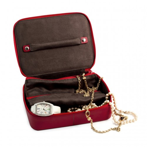 Leather Jewelry Case Red