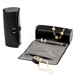 Leather Jewelry Roll Black