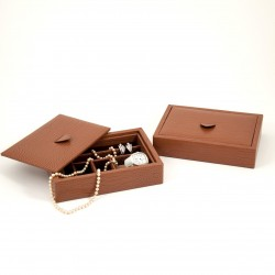Leather Valet Jewelry Tray Brown